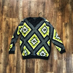Forever 21 Aztec Neon Sweater 2x